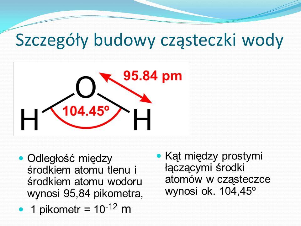 Szczegóły budowy cząsteczki wody