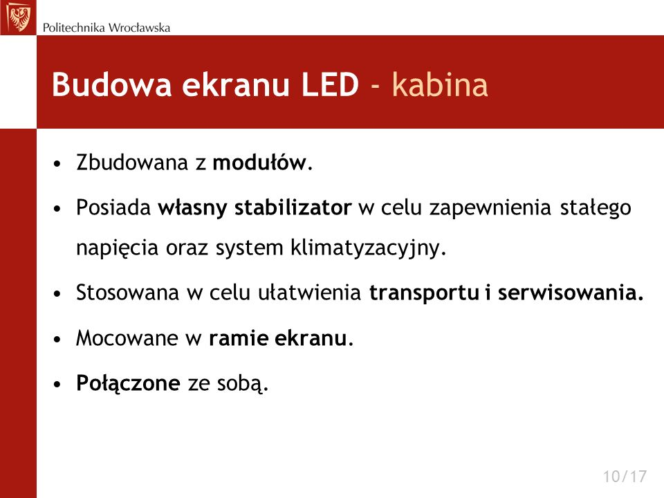 Budowa ekranu LED - kabina