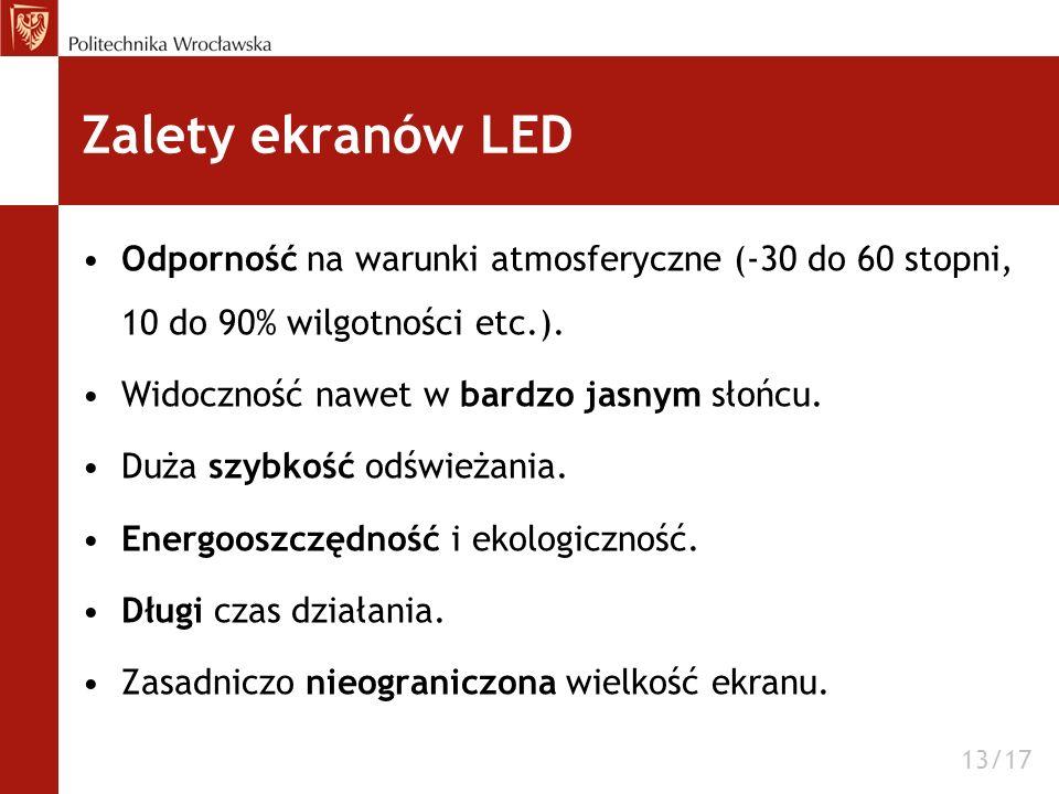 Zalety ekranów LED Odporność na warunki atmosferyczne (-30 do 60 stopni, 10 do 90% wilgotności etc.).