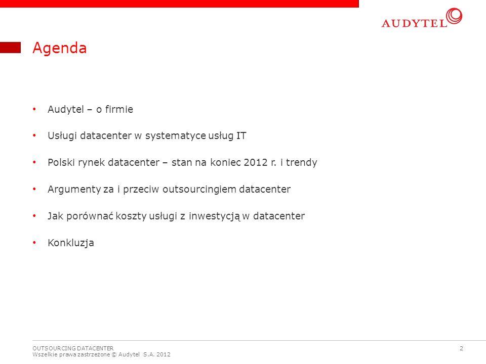 Agenda Audytel – o firmie Usługi datacenter w systematyce usług IT