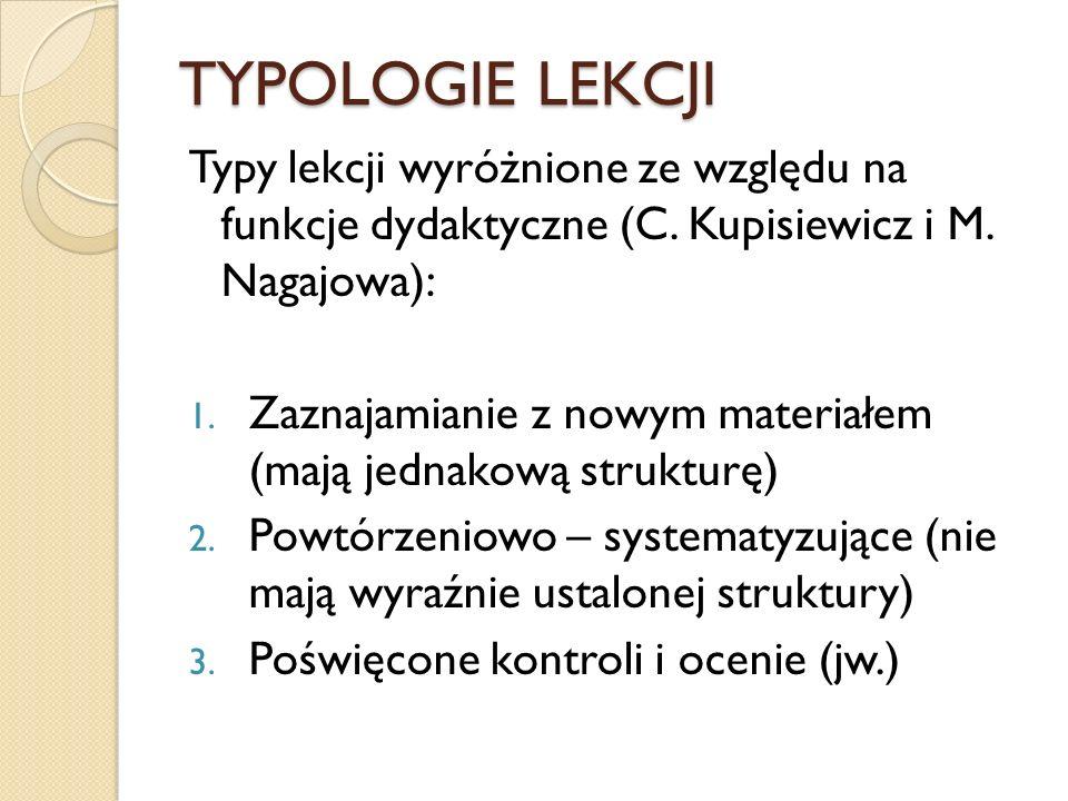 TYPOLOGIE LEKCJI Typy lekcji wyróżnione ze względu na funkcje dydaktyczne (C. Kupisiewicz i M. Nagajowa):
