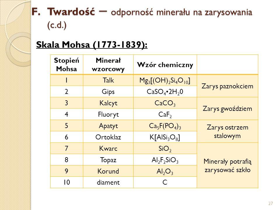Twardość – odporność minerału na zarysowania (c.d.)