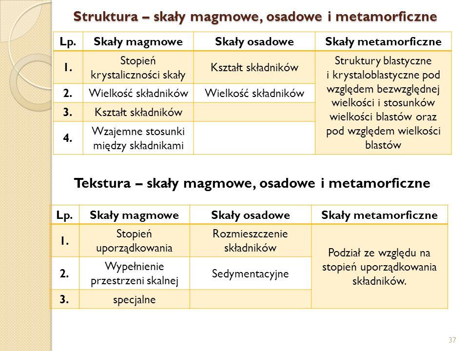 Struktura – skały magmowe, osadowe i metamorficzne