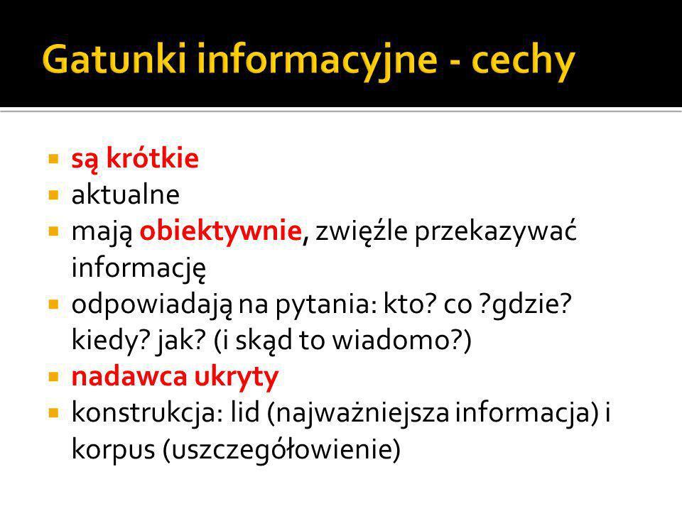 Gatunki informacyjne - cechy