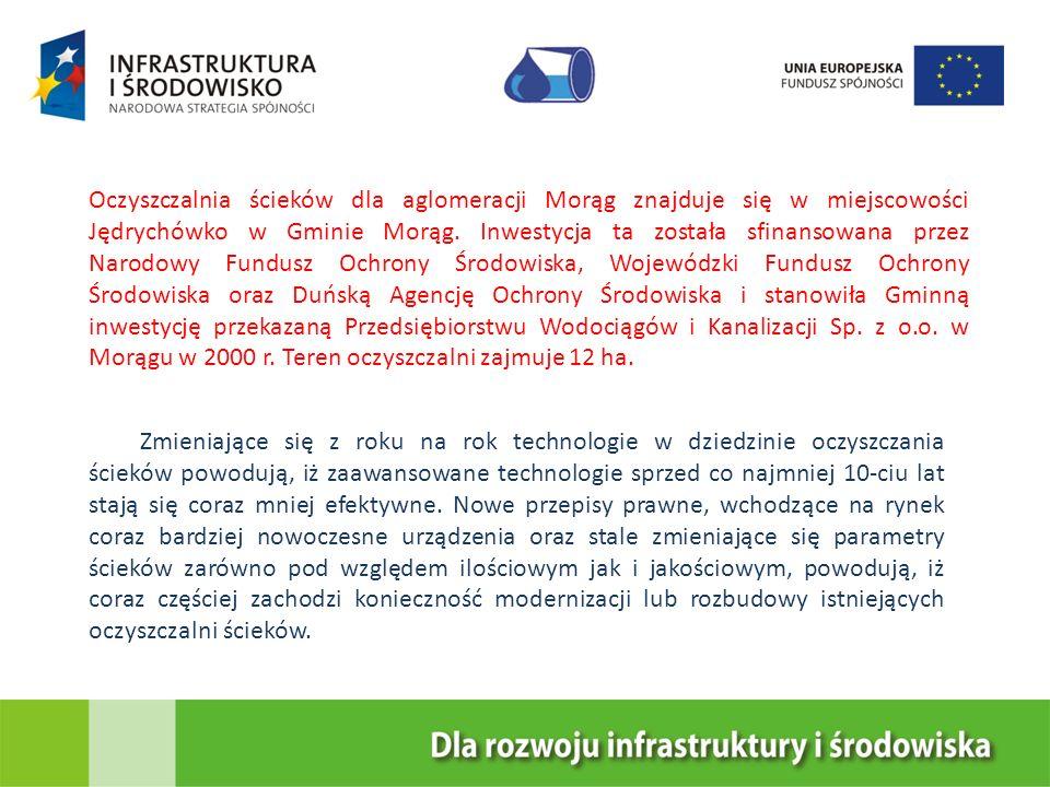 Oczyszczalnia ścieków dla aglomeracji Morąg znajduje się w miejscowości Jędrychówko w Gminie Morąg. Inwestycja ta została sfinansowana przez Narodowy Fundusz Ochrony Środowiska, Wojewódzki Fundusz Ochrony Środowiska oraz Duńską Agencję Ochrony Środowiska i stanowiła Gminną inwestycję przekazaną Przedsiębiorstwu Wodociągów i Kanalizacji Sp. z o.o. w Morągu w 2000 r. Teren oczyszczalni zajmuje 12 ha.