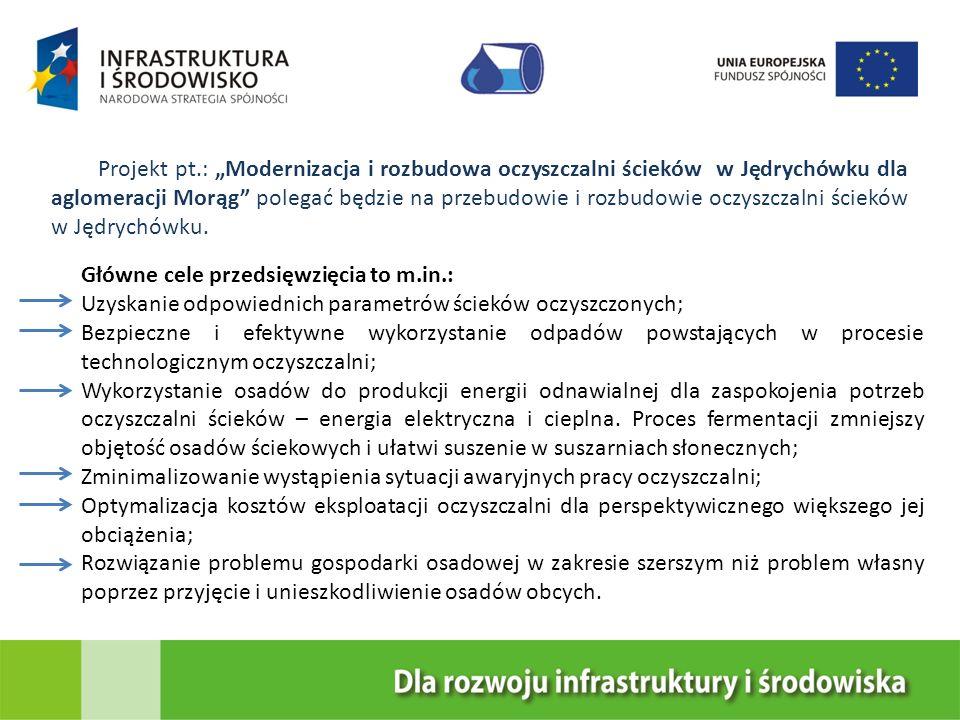 """Projekt pt.: """"Modernizacja i rozbudowa oczyszczalni ścieków w Jędrychówku dla aglomeracji Morąg polegać będzie na przebudowie i rozbudowie oczyszczalni ścieków w Jędrychówku."""