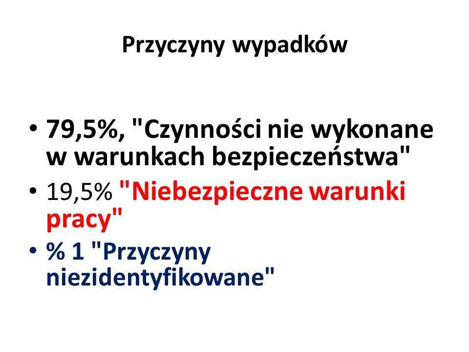 79,5%, Czynności nie wykonane w warunkach bezpieczeństwa
