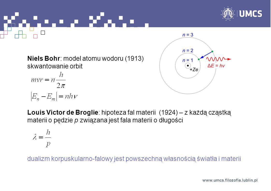 Niels Bohr: model atomu wodoru (1913) skwantowanie orbit