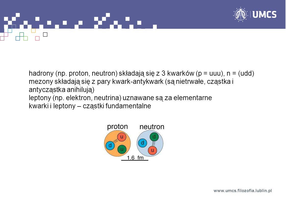 leptony (np. elektron, neutrina) uznawane są za elementarne