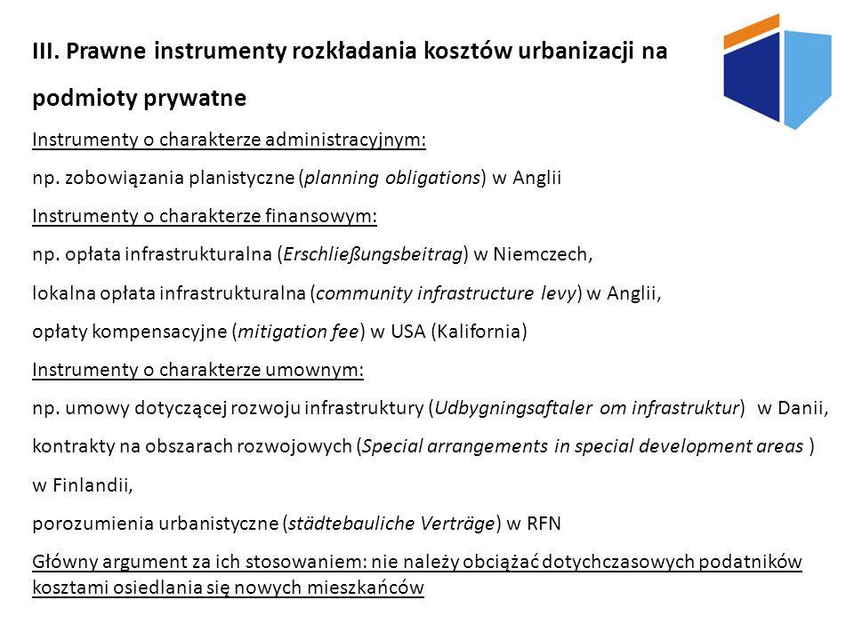 III. Prawne instrumenty rozkładania kosztów urbanizacji na