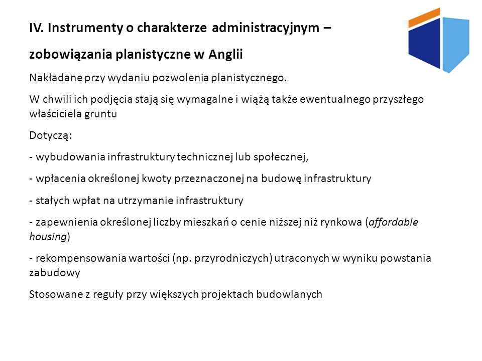 IV. Instrumenty o charakterze administracyjnym –