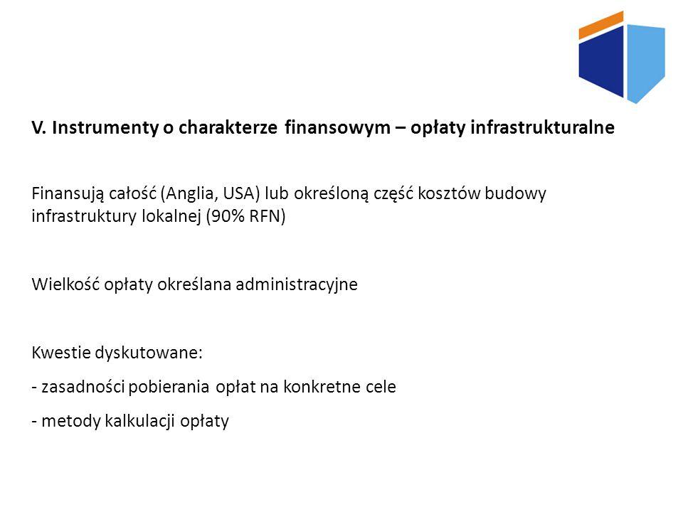 V. Instrumenty o charakterze finansowym – opłaty infrastrukturalne