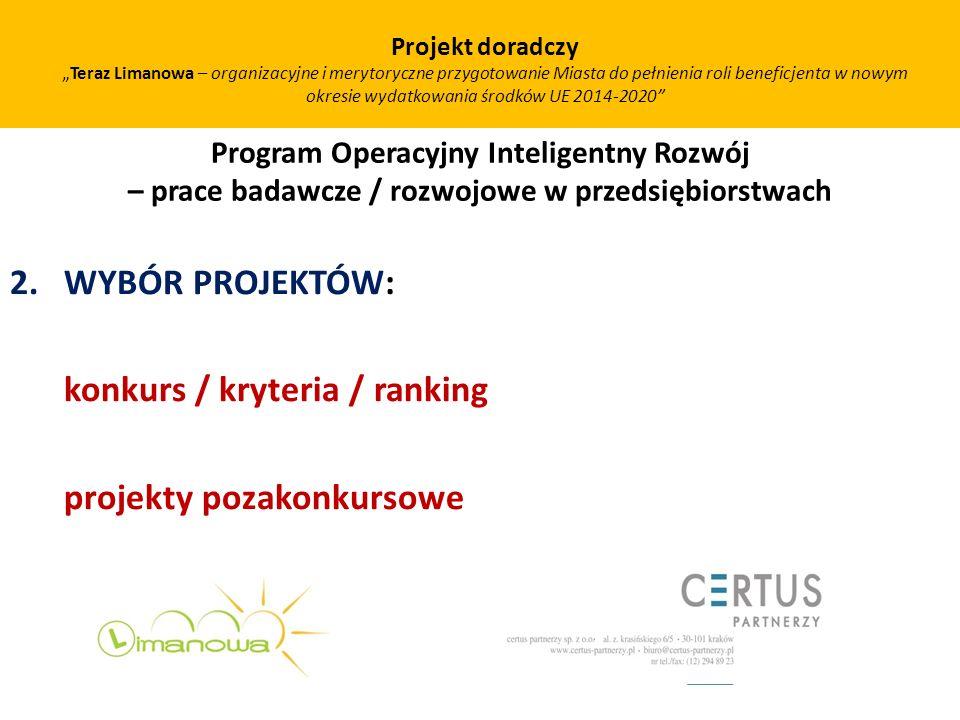 konkurs / kryteria / ranking projekty pozakonkursowe
