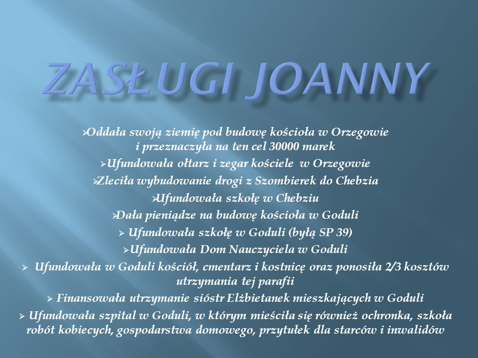 Zasługi Joanny