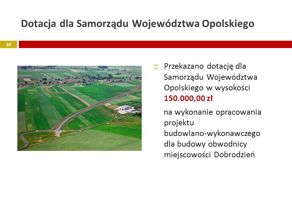 Dotacja dla Samorządu Województwa Opolskiego