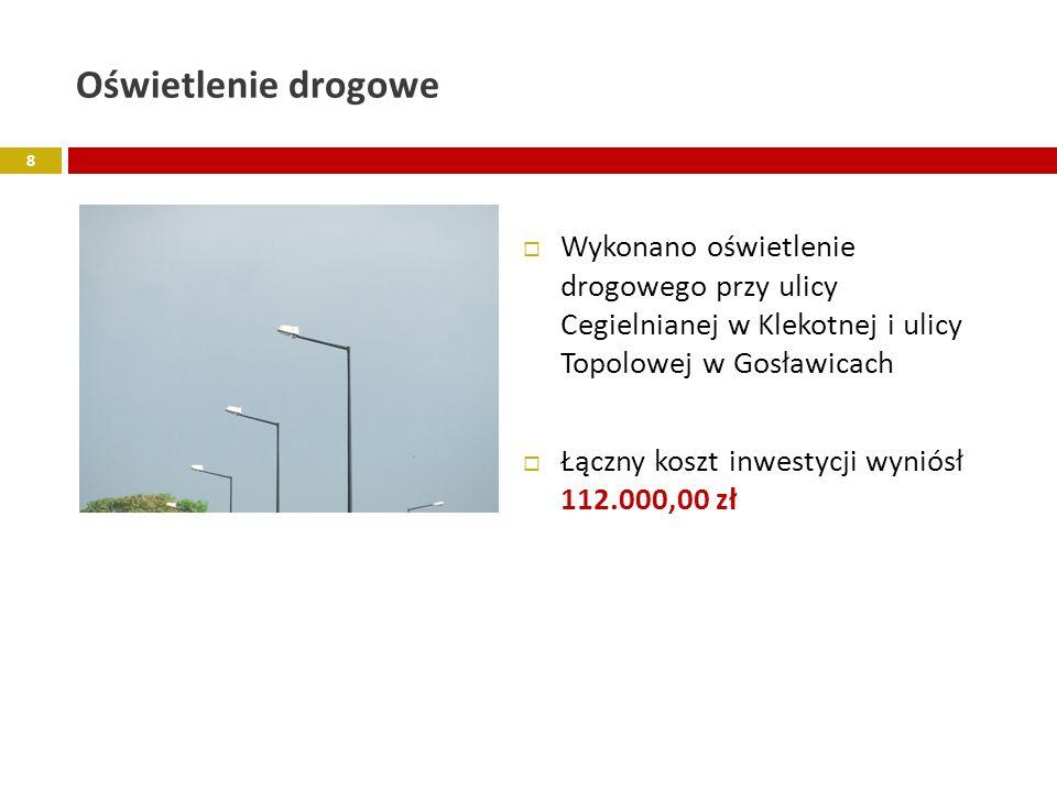 Oświetlenie drogowe Wykonano oświetlenie drogowego przy ulicy Cegielnianej w Klekotnej i ulicy Topolowej w Gosławicach.