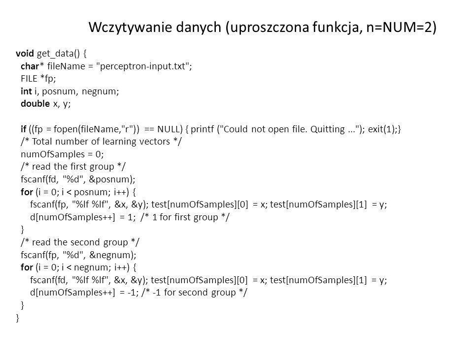 Wczytywanie danych (uproszczona funkcja, n=NUM=2)