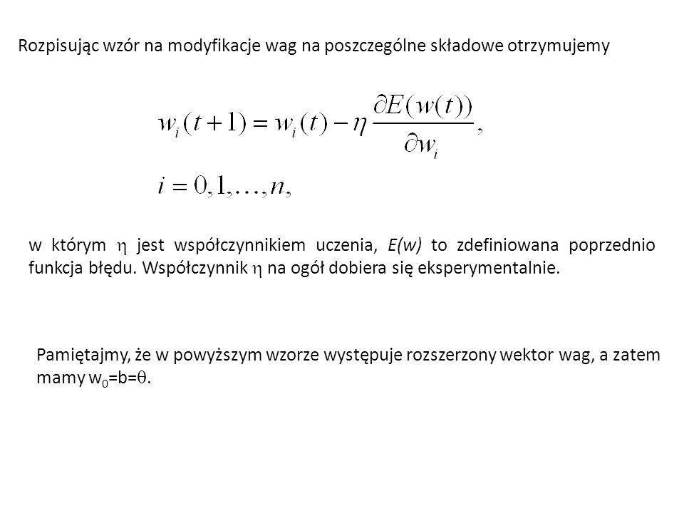 Rozpisując wzór na modyfikacje wag na poszczególne składowe otrzymujemy