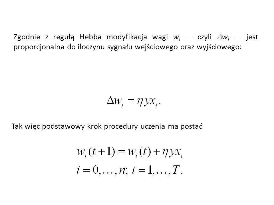 Zgodnie z regułą Hebba modyfikacja wagi wi — czyli Dwi — jest proporcjonalna do iloczynu sygnału wejściowego oraz wyjściowego:
