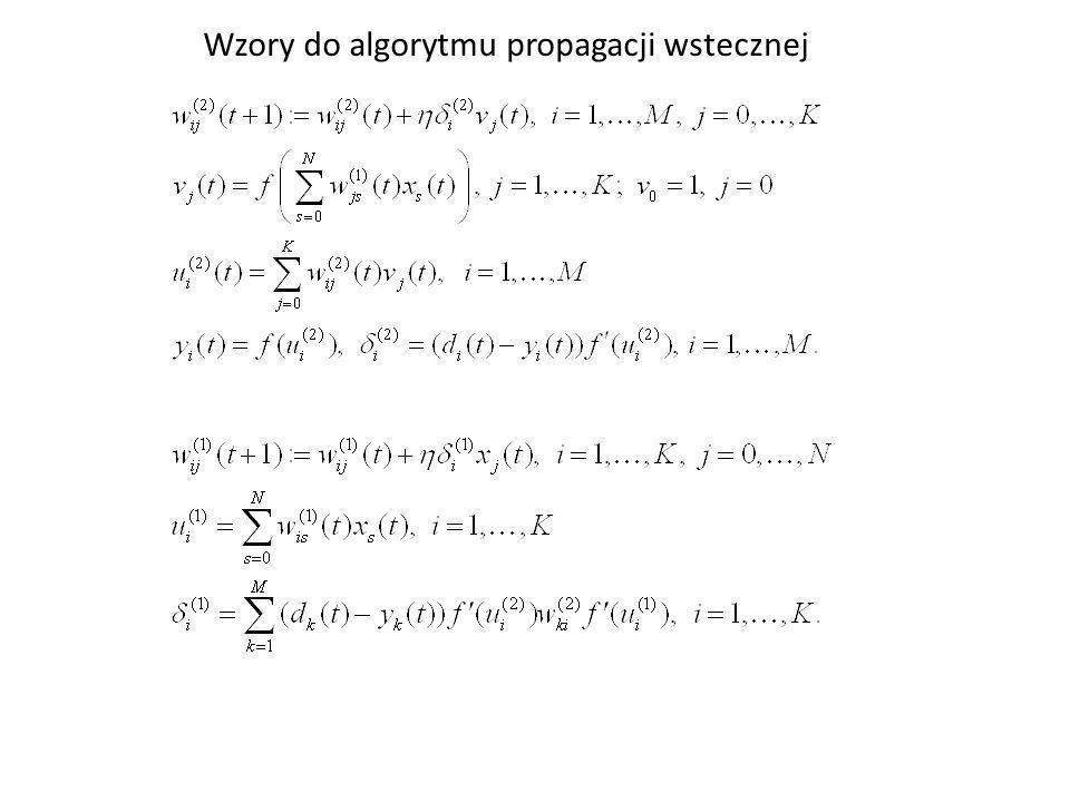 Wzory do algorytmu propagacji wstecznej