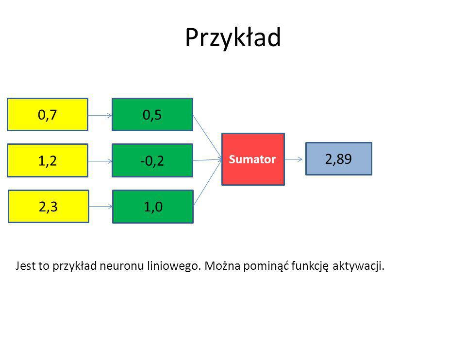 Przykład 0,7. 0,5. Sumator. 1,2. -0,2. 2,89.