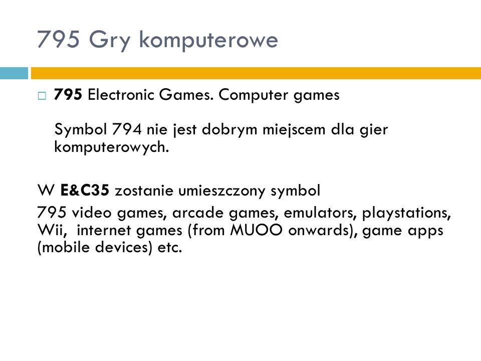 795 Gry komputerowe795 Electronic Games. Computer games Symbol 794 nie jest dobrym miejscem dla gier komputerowych.