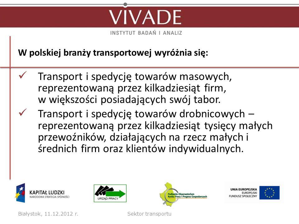 W polskiej branży transportowej wyróżnia się: