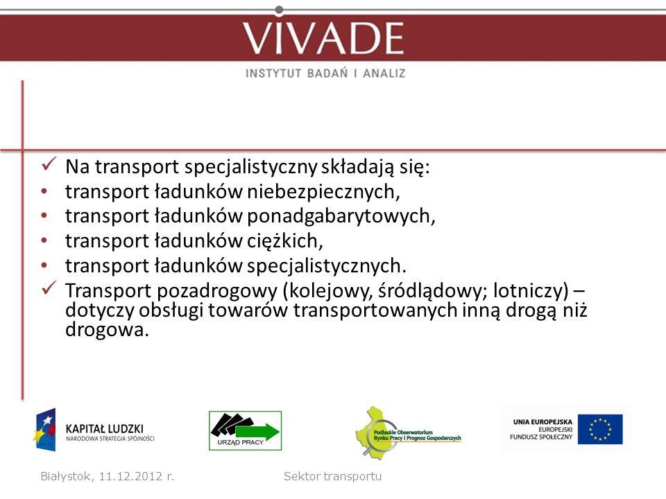 Na transport specjalistyczny składają się: