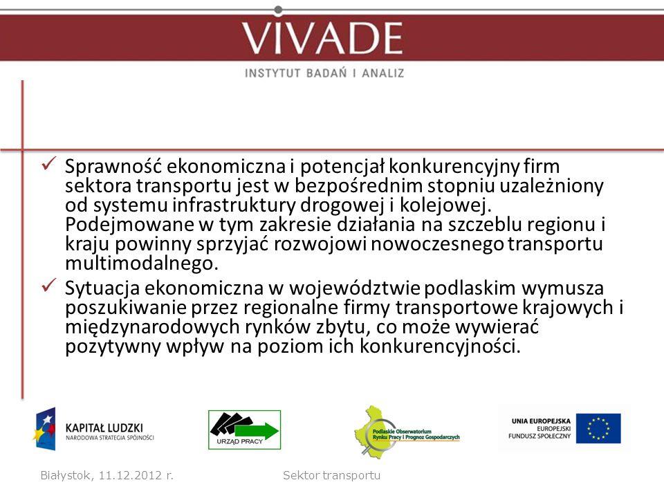 Sprawność ekonomiczna i potencjał konkurencyjny firm sektora transportu jest w bezpośrednim stopniu uzależniony od systemu infrastruktury drogowej i kolejowej. Podejmowane w tym zakresie działania na szczeblu regionu i kraju powinny sprzyjać rozwojowi nowoczesnego transportu multimodalnego.