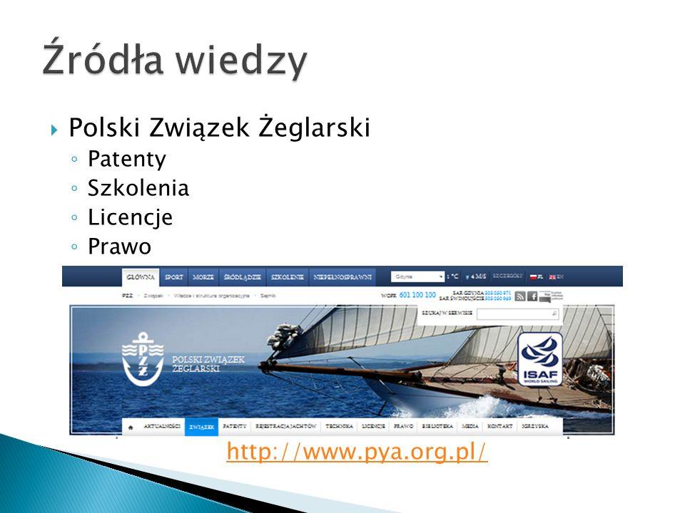 Źródła wiedzy Polski Związek Żeglarski http://www.pya.org.pl/ Patenty