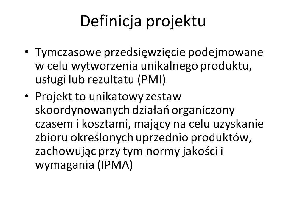 Definicja projektu Tymczasowe przedsięwzięcie podejmowane w celu wytworzenia unikalnego produktu, usługi lub rezultatu (PMI)