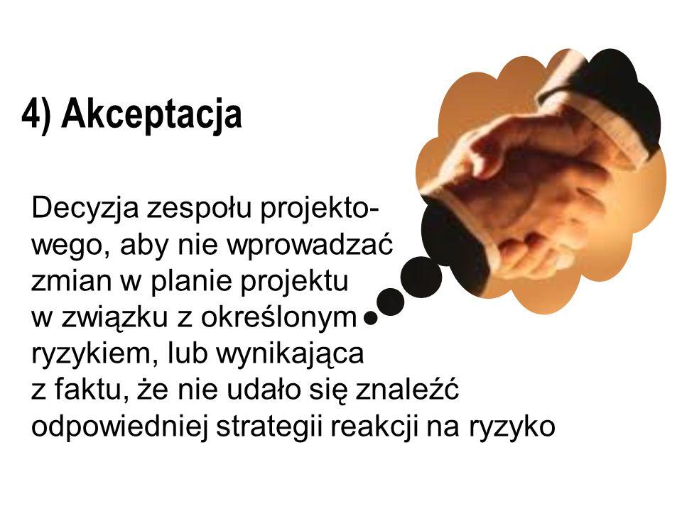 4) Akceptacja Decyzja zespołu projekto- wego, aby nie wprowadzać