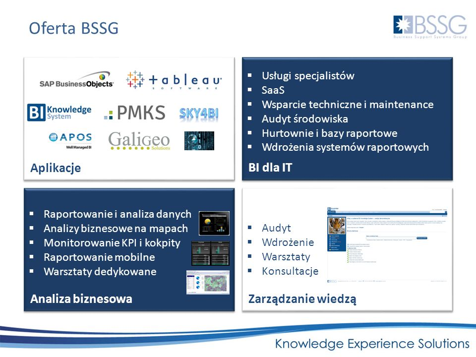 Oferta BSSG sKY4BI Aplikacje BI dla IT Analiza biznesowa