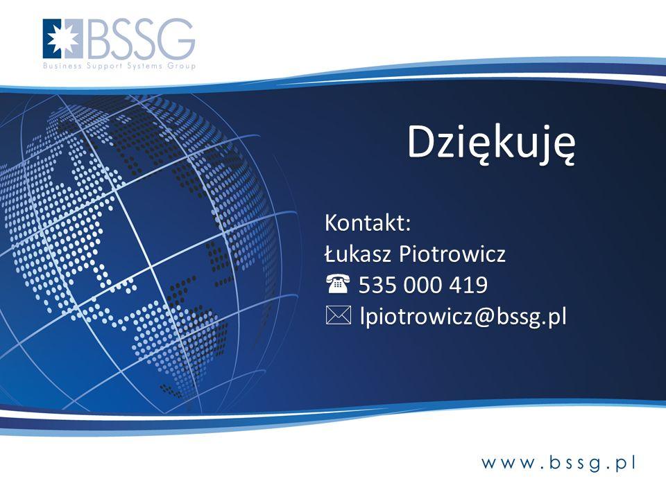 Dziękuję Kontakt: Łukasz Piotrowicz  535 000 419