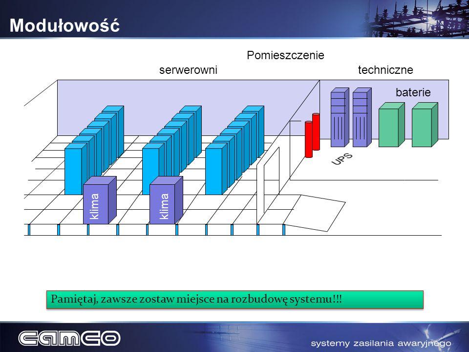 Modułowość Pomieszczenie serwerowni techniczne baterie UPS klima klima