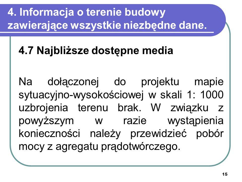 4. Informacja o terenie budowy zawierające wszystkie niezbędne dane.