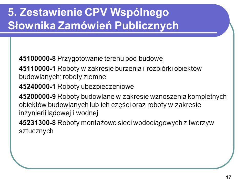 5. Zestawienie CPV Wspólnego Słownika Zamówień Publicznych