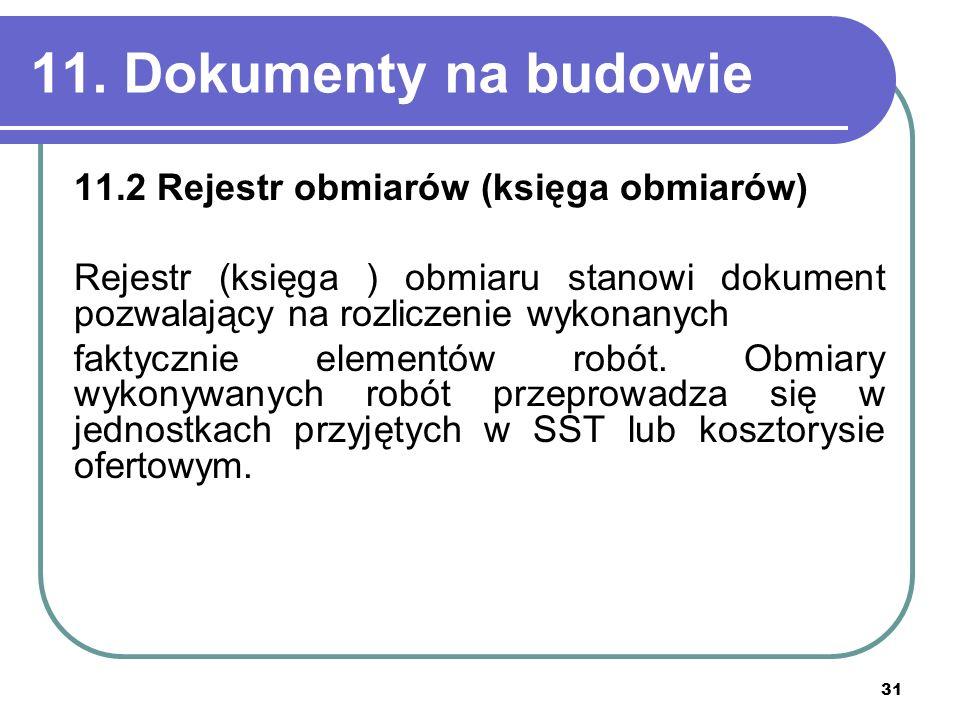 11. Dokumenty na budowie 11.2 Rejestr obmiarów (księga obmiarów)