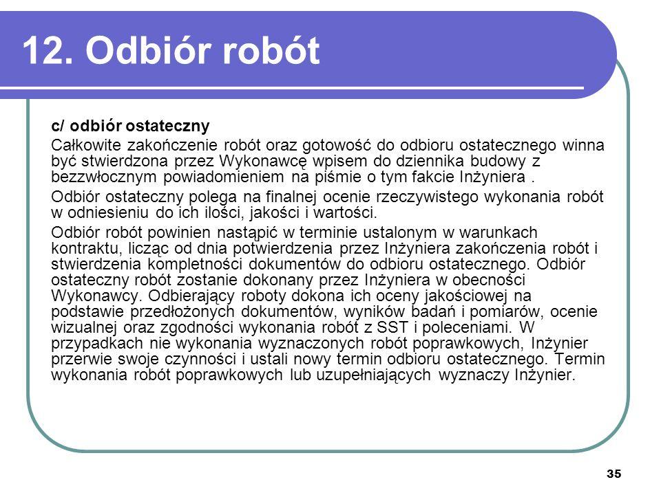 12. Odbiór robót c/ odbiór ostateczny