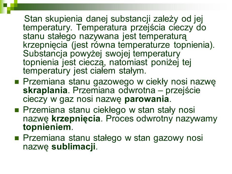 Stan skupienia danej substancji zależy od jej temperatury