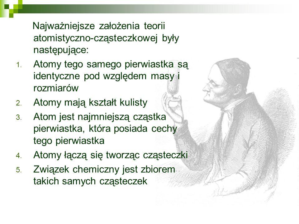 Najważniejsze założenia teorii atomistyczno-cząsteczkowej były następujące: