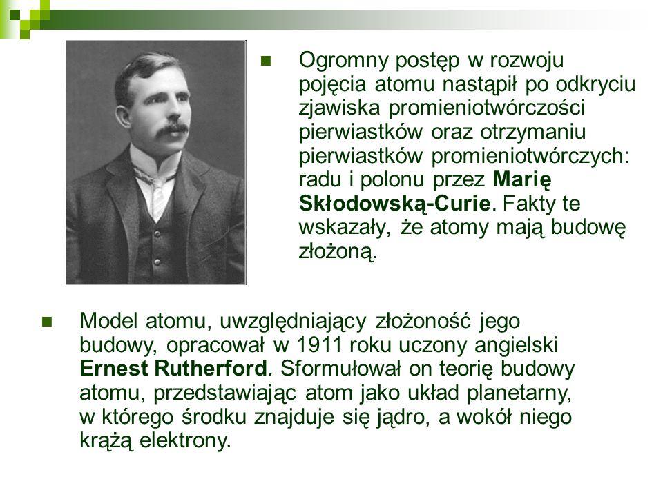 Ogromny postęp w rozwoju pojęcia atomu nastąpił po odkryciu zjawiska promieniotwórczości pierwiastków oraz otrzymaniu pierwiastków promieniotwórczych: radu i polonu przez Marię Skłodowską-Curie. Fakty te wskazały, że atomy mają budowę złożoną.