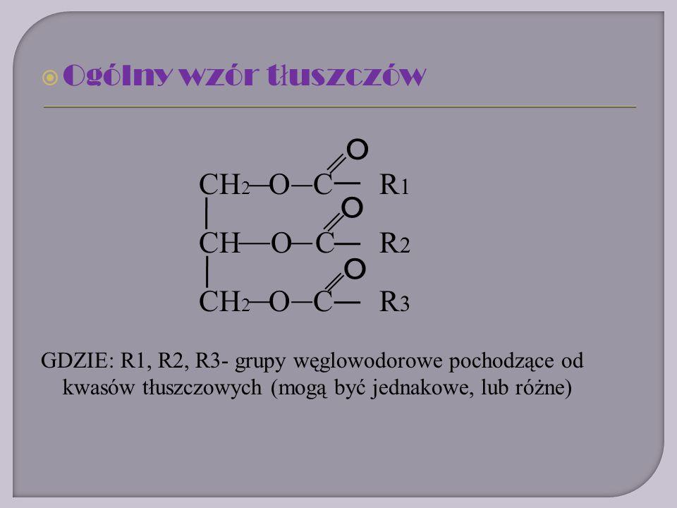 Ogólny wzór tłuszczów CH2 O C R1 O CH O C R2 CH2 O C R3 O O