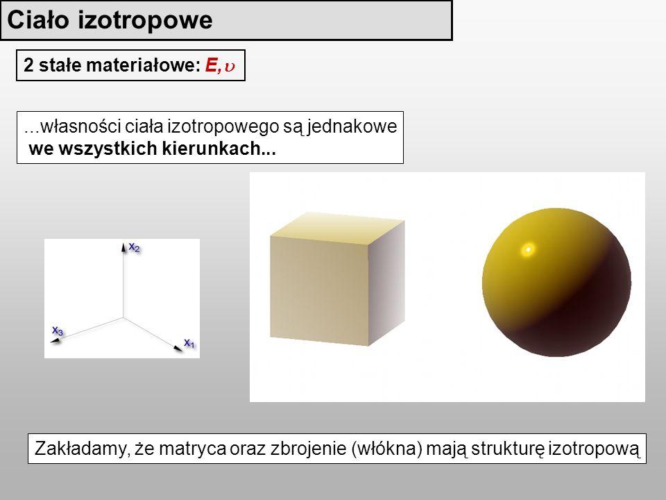 Ciało izotropowe 2 stałe materiałowe: E,