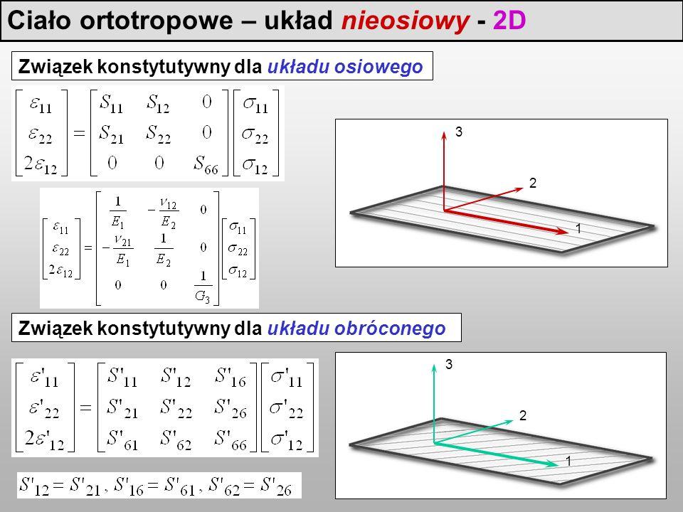 Ciało ortotropowe – układ nieosiowy - 2D