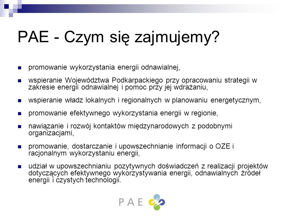 PAE - Czym się zajmujemy