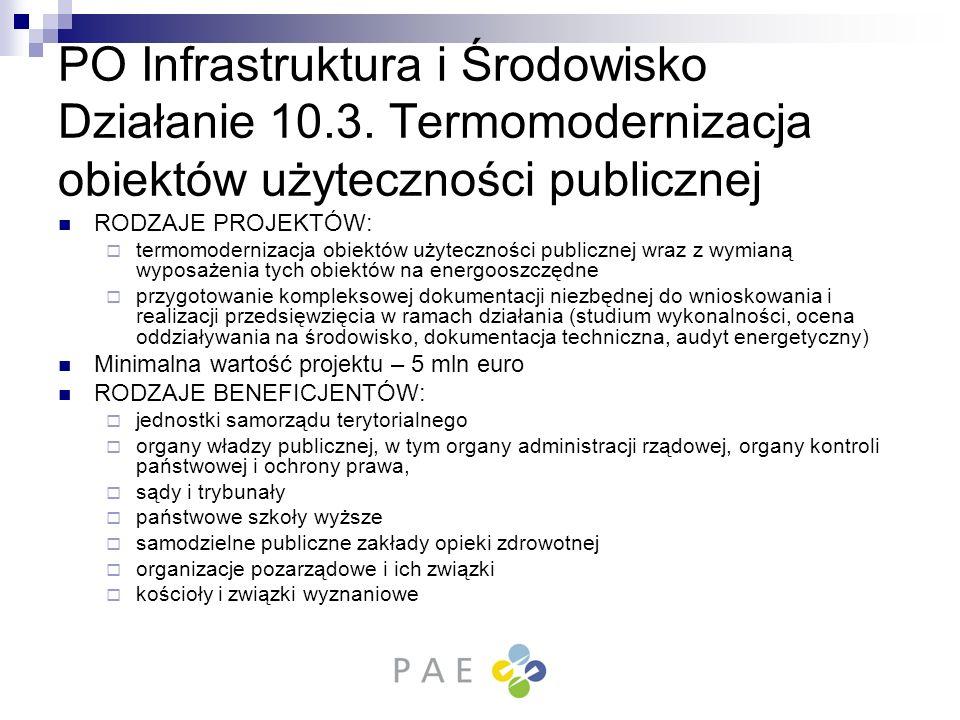 PO Infrastruktura i Środowisko Działanie 10. 3