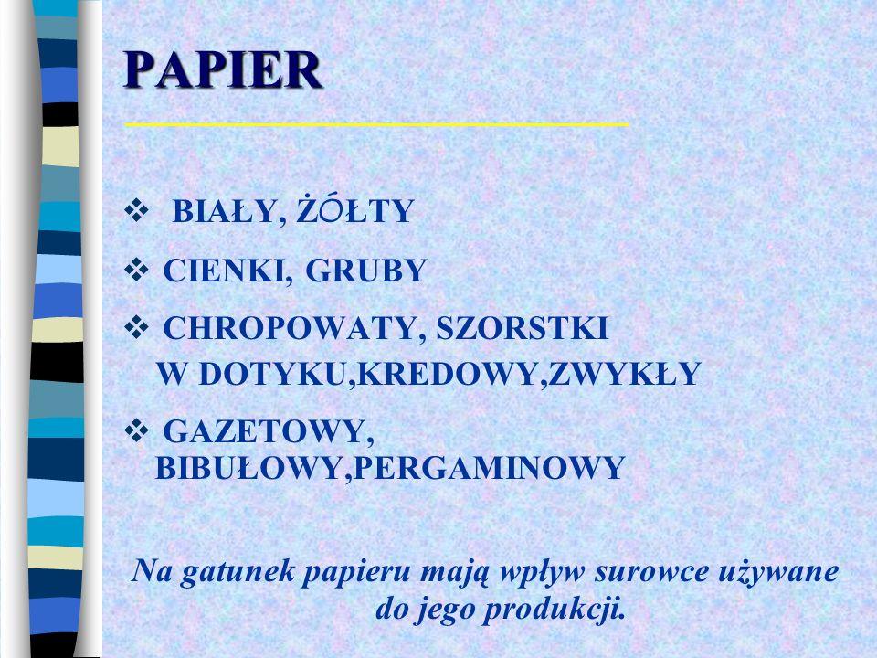 Na gatunek papieru mają wpływ surowce używane do jego produkcji.