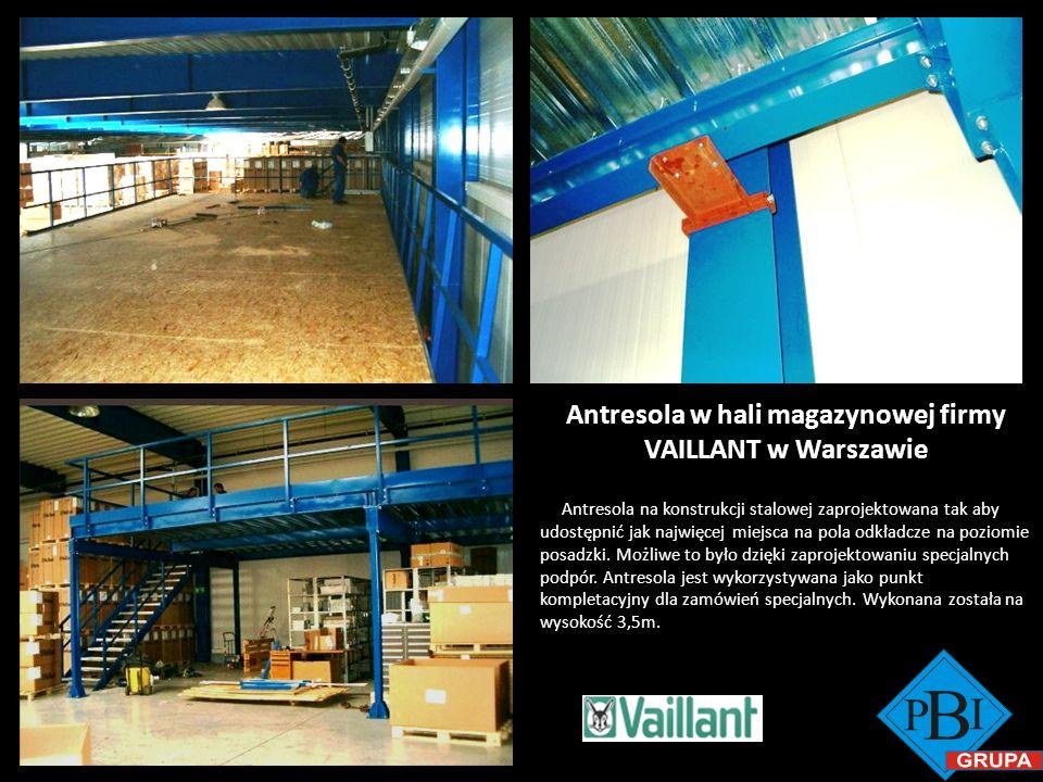 Antresola w hali magazynowej firmy VAILLANT w Warszawie