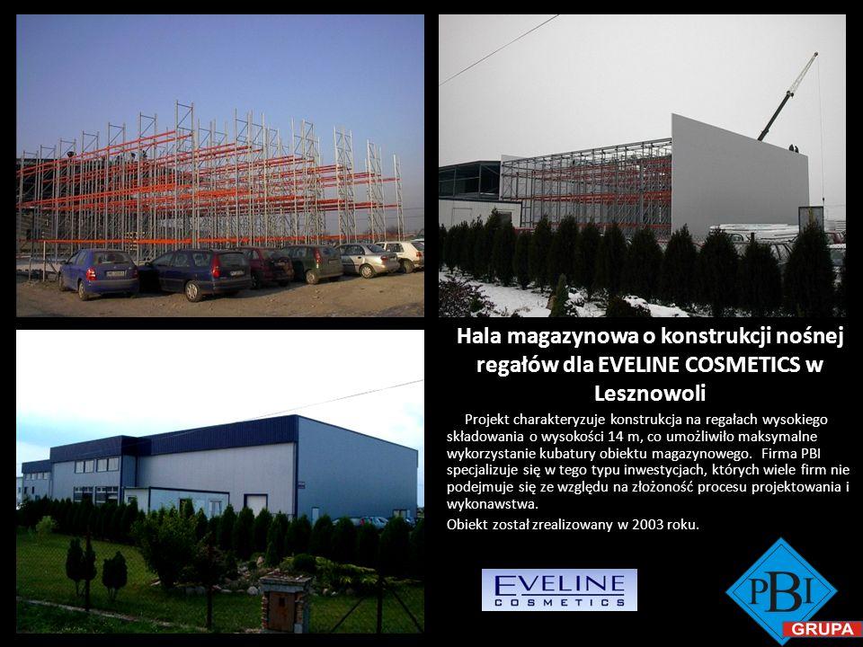 Hala magazynowa o konstrukcji nośnej regałów dla EVELINE COSMETICS w Lesznowoli